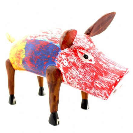 Wood Carved Multi-colour Pig